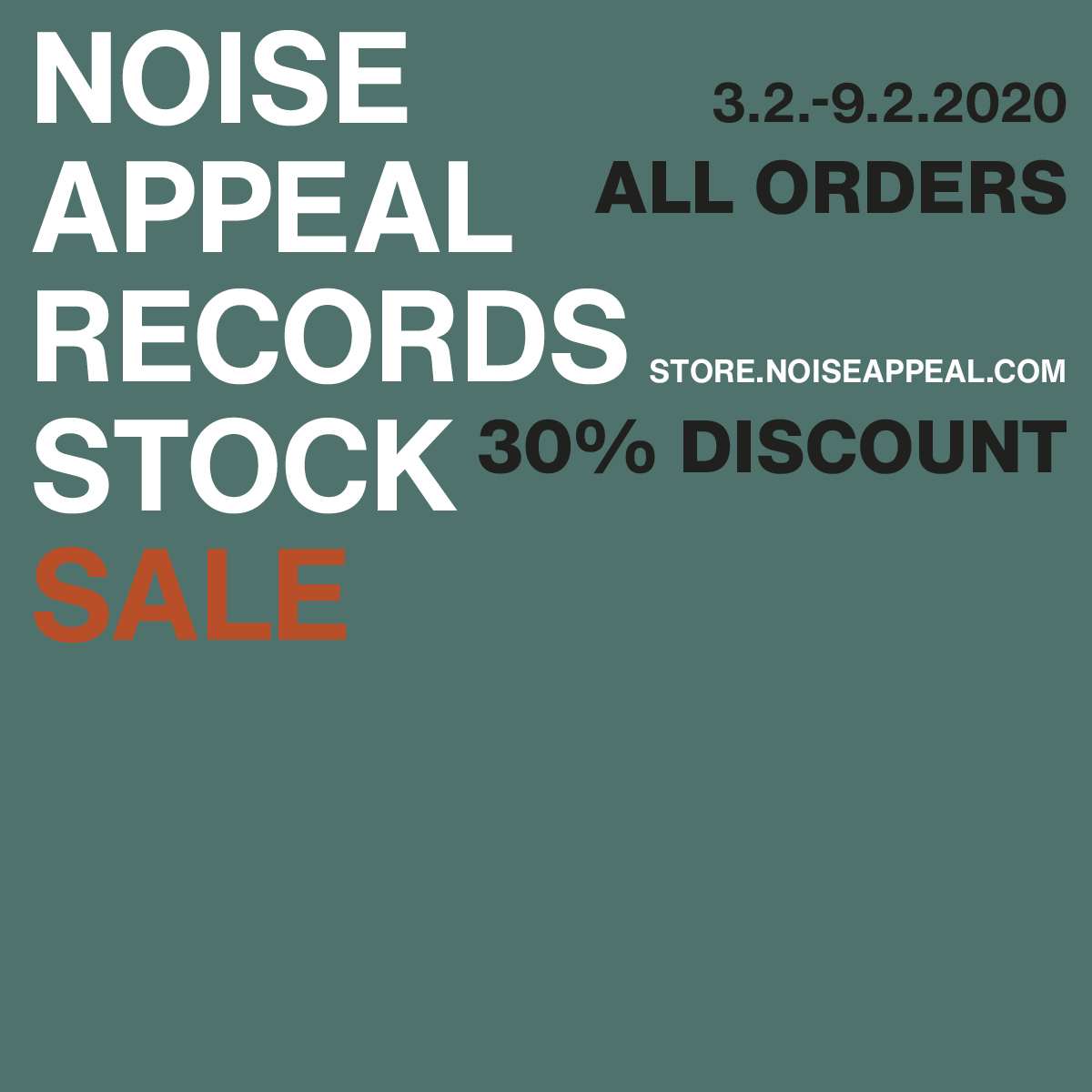 Noise Appeal Records Stock Sale February 2020